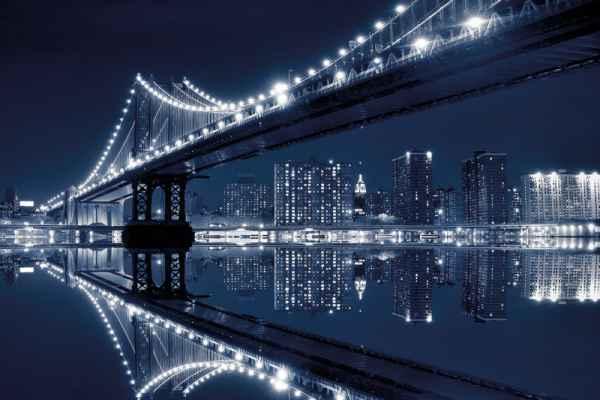 Carta da parati New York, Brooklyn Bridge Riflesso