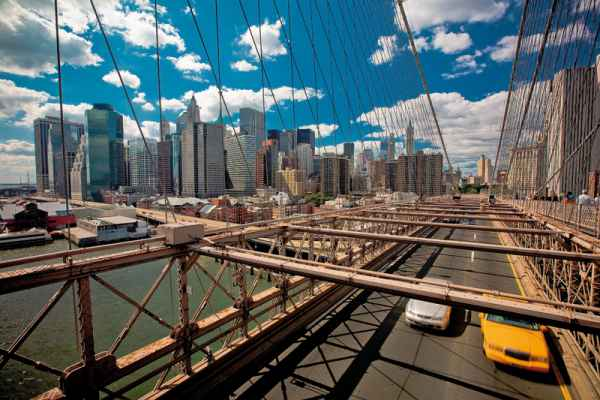 Carta da parati New York, Brooklyn Bridge Taxi 2
