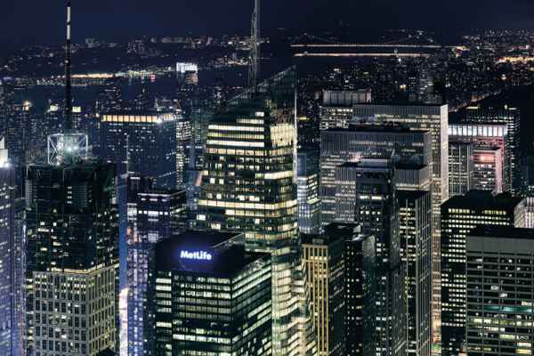 Carta da parati New York, Manhattan al Tramonto