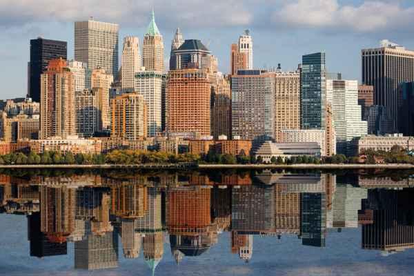 Carta da parati New York, Manhattan Hudson River