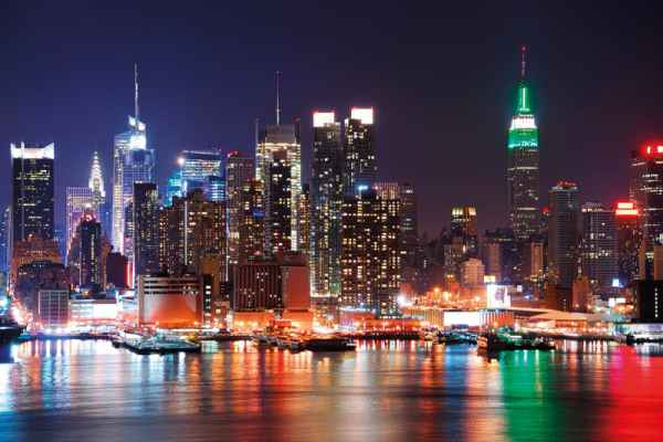 Carta da parati New York, Manhattan Luci Notturne