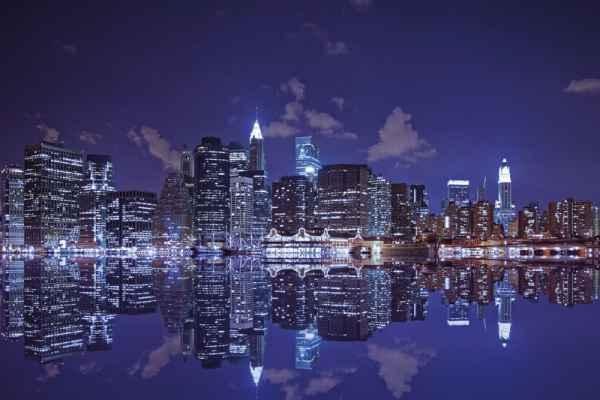 Carta da parati New York, Manhattan Inferiore Riflessa