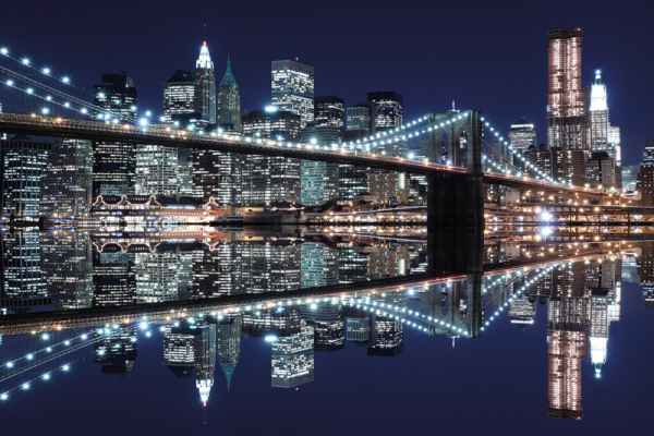 Carta da parati New York, Manhattan Skyline Night