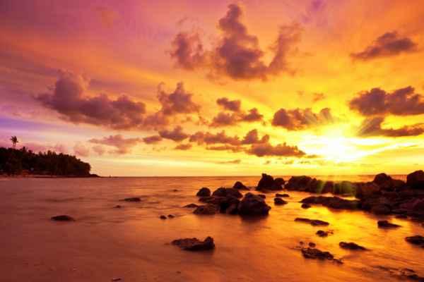 Carta da parati Spiaggia tropicale al tramonto